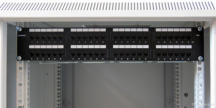 Network Patch Panel (48 Port) Mounted in a Network Cabinet