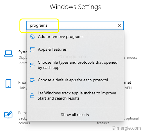 Windows Settings - Programs
