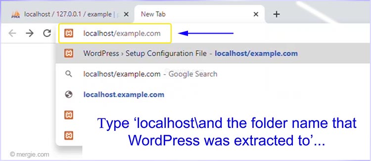 Install WordPress by Typing 'localhost' and the Folder Name That WordPress was Extracted to