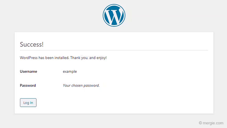 Installing WordPress - 'Success' - Log In