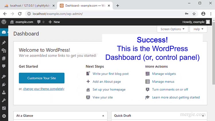 Installing WordPress - Success - The WordPress Dashboard Appears...
