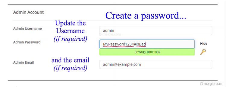 Live Website Server - WordPress Installation Setup (Create a Password)