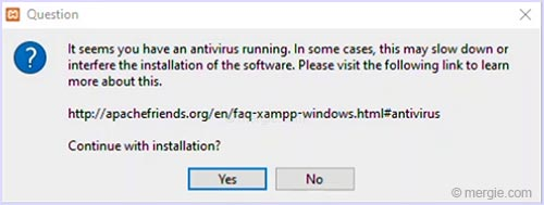 Testing Server Install Warning - Is Your AntiVirus Running - XAMPP