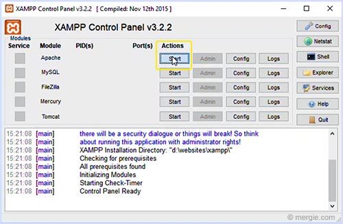 The Testing Server Control Panel - Start Apache - XAMPP