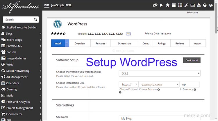 The Web Hosting Control Panel App - WordPress Installation Settings Page