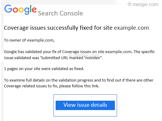 Google Search Console - Coverage Issues Successfully Fixed