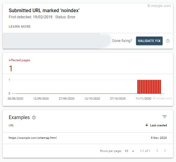 Google Search Console - Submitted URL Marked 'noindex'
